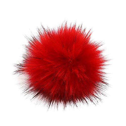 Y56 13cm DIY Pompon Kunstfell Faux Kunstpelz Pom Pom Ball Kunstfellbommel für Stricken Hüte Zubehör Bommelmütze Schlüsselanhänger Bommel mit Anstecknadel Pelzbommel Fellbommel Pompon (L)