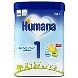 Humana Anfangsmilch 1, Babynahrung zum Zufüttern und als alleinige Säuglingsnahrung, mit DHA (Omega 3 Fettsäure), nur Laktose als Kohlenhydrat, von Geburt an, Pulver, 800 g