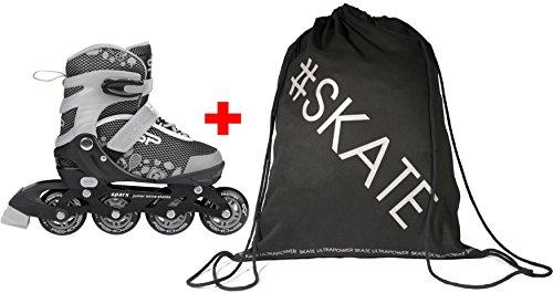 Spokey SPARX Verstellbare Inline Skates + Ultrapower Rucksack | Aluminiumschiene Grau 31-34