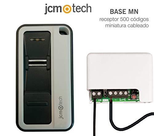 JCM Tech - Mando garaje universal GoBIO + BASE MN receptor 500 códigos miniatura cableado - Mando a distancia biométrico - Capacidad para 10 huellas dactilares - Rango de actuación 100m