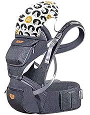 JooBebe Babybärare höftsits avtagbar andningsbar ergonomisk höftsits bärsele med justerbara remmar och avtagbar huva för både mamma och pappa i 6 till 36 månader (75 cm eller mer)