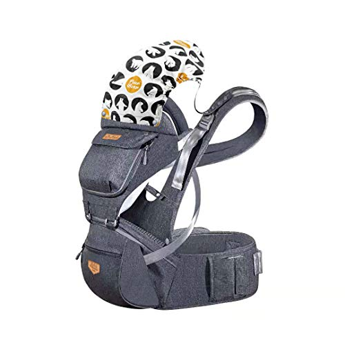JooBebe Baby Carrier Hip Seat Detachable Breathable Ergonomic Hipseat Baby Backpack Carrier with Adjustable Straps & Detachable Hood for Both Mom & Dad for 0 to 36 Months(75cm or Higher)-Gray