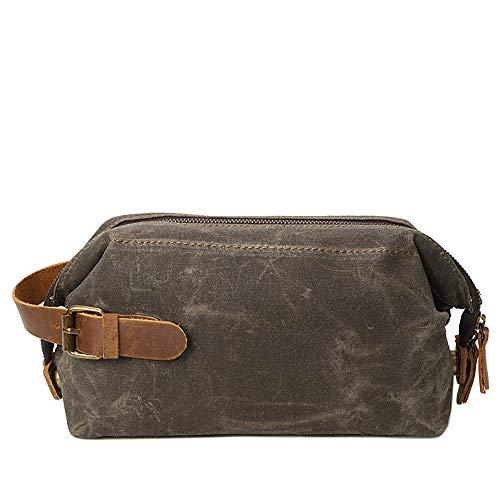 N\A Unisex Cosmetic Bag Washed Bag Für Unterwegs wasserdichte Reiseverpackung Men Oil Wax Canvas Retro Hochwertige Cosmetic Wash Cowhide Wrist Bags