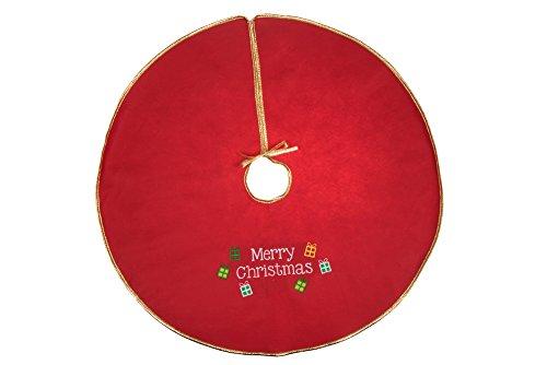 """Clever Creations Weihnachtsbaumdecke mit goldfarbenem Rand und gesticktem """"Merry Christmas""""-Schriftzug - Schnürband - schützt Böden vor Nadeln und Harz - Rot & Weiß -80 cm Durchmesser"""