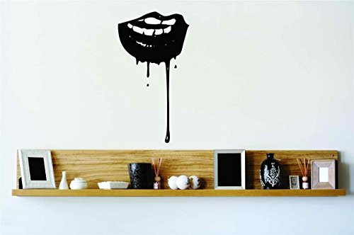 Sexy Vampire Lips Blood Dripping Vinyl Wall Decal Peel & Stick Graphic Sticker Picture Art Home Halloween Party Decoration Kids Boy Girl Teen Dorm Room Children – 22 Colors Available 30x10