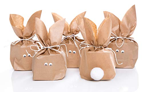 5 Stück braune natürlich lustige Osterhasen Hasen Papiertüten + weiß Juteband – Alternative zum Osternest f. Kinder + Erwachsene give-away Mitgebsel Verpackung Geschenke zu Ostern