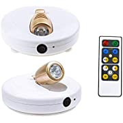 HONWELL LED Spotlight 2 Pack LED Accent Lights Wireless Puck Lights with Remote and AA Powered Warm White Light Closet Light with Rotatable Lights Head Stick on Anywhere Indoor 110 Lumens