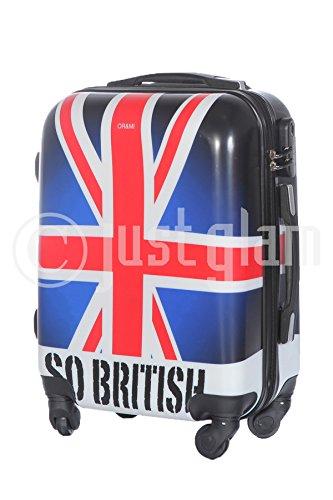 JustGlam - Bagaglio a mano da cabina Trolley ABS rigido quattro ruote adatto voli lowcost bandiera inglese so british