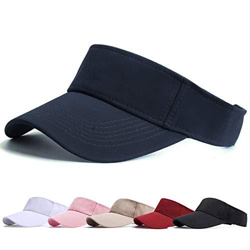 BLURBE Unisex Visera- Visor Gorras, 1/2 Gorra Deportiva Protección UV Viseras Sombreros para el Sol de Deportes al Aire Libre Golf Tenis Correr para Correr (Armada)