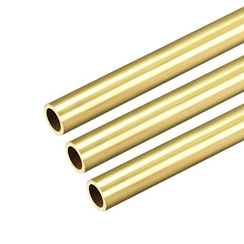 uxcell Brass Round Tube, 300mm Length 9mm OD 1mm Wall Thickness, Seamless Straight Pipe Tubing 3 Pcs