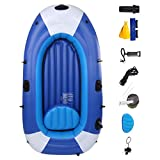 Inflatable Kayak, 3-Person Heavy Duty Fishing Air Kayak Canoe Set, Anti-wear Blow Up Drifting Boat, Inflatable Boat Set, PVC Thickened Folding Wear-Resistant Fishing Boat Kayak for Adults Fishing