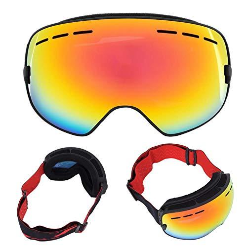 Omabeta Gafas de esquí para deportes al aire libre con soporte de doble capa para protección ocular (marco negro + chapado en rojo al vacío)