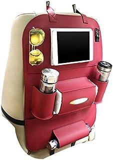 KOBWA Seat Back Organizer+ Ipad& Tablet Holder, Pu Leather Car Backseat Hanging Kick Mat Protector Travel Storage Bag, To Organize Phone/Tissue Box/Umbrella/ Baby Toys/Bottles Wine