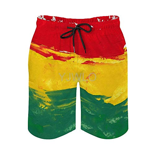YJWLO bunte Marley Reggae-Farben grün Bob Rasta Jamaika Flagge Jamaika Herren schnell trocknend Sommer Strand schnell trocknend Surf Badehose Boardshorts Hose Gr. XXL, stil 1