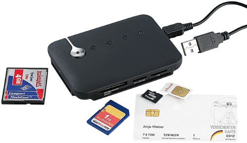 c-enter SIM Kartenleser: Multi-Card- und SIM-Reader mit aktivem USB-2.0-Hub, 3 Ports (Multicardreader)