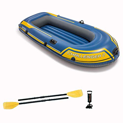 Zixin 2-Pson Inflatable Kayak Set,Kayak with Aluminum Oars and Manual air pump Ideal for Lakes or Sea Shores (Color : Blue)