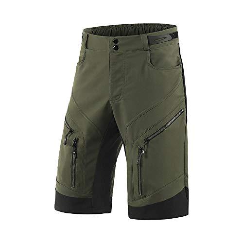 Cycle Shorts Mens Rembourré, Breathable Perspiration Mountain Bike Shorts pour Hommes imperméables Multi-Poche XXL Gree