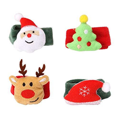 BESTOYARD 4pcs Plush Snap Bracelets Christmas Party Favors Gifts Toys for Kids Santa Claus Reindeer Christmas Tree Santa Hat Slap Bands