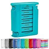 [page_title]-WELLGRO Tablettenbox für 7 Tage, je 4 Fächer pro Tag, 11 Farben zur Auswahl, Farbe:Türkis