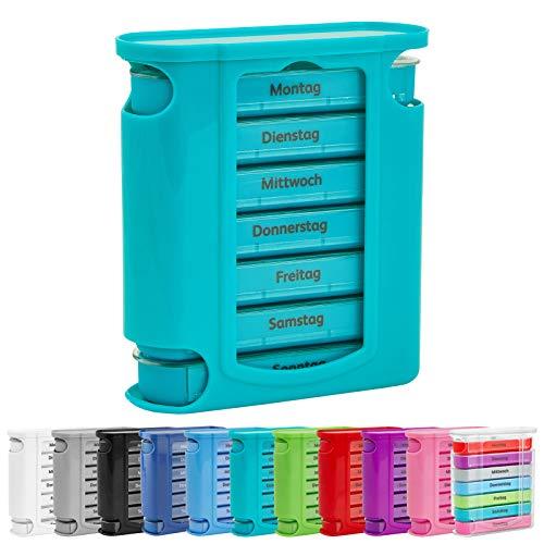 WELLGRO Tablettenbox für 7 Tage, je 4 Fächer pro Tag, 11 Farben zur Auswahl, Farbe:Türkis