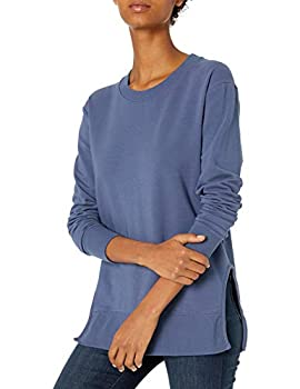 Amazon Brand - Daily Ritual Women s Terry Cotton and Modal Long Sleeve Crew Neck Sweatshirt Indigo Small