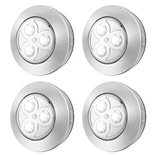 IPOW 4 Pack Upgraded Cordless Tap Lights Sticky LED Battery-Powered Push Night Lights Press On Bright Whitelight Lamp for Closets, Wardrobe, Cabinets, Counters, Utility Rooms