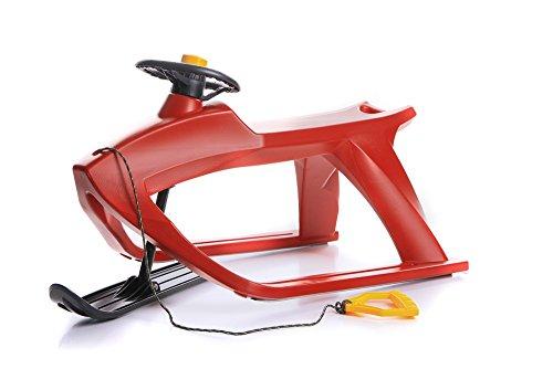 Unbekannt Schlitten Kinderschlitten Rodel aus Kunststoff mit Zugseil Lenkung und Kufe F1 Control 4 Farben (Rot)