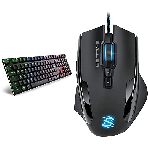 Sharkoon PureWriter RGB Mechanische Low Profile-Tastatur (RGB Beleuchtung, Blaue Schalter) Blau Schalter & Skiller SGM1 Gaming Maus mit Makrotasten (10800 DPI, RGB-Beleuchtung, 12 Tasten) schwarz