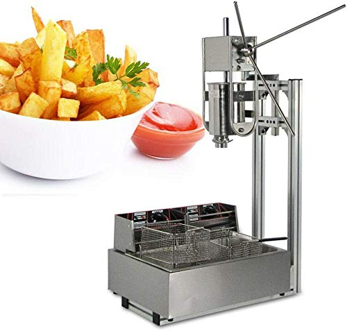 Commercial Churro Machine Stainless Steel Churro Maker Home 3L Vertical Type Manual Spanish Donuts Machine Maker with 12L Commercial Electric Deep Fryer for Churro Donut French Fry