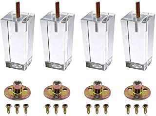 6 inch Pyramid Acrylic Furniture DIY Legs Clear Glass Feet for End Table Coffee Tables Buffets Cabinet Bed (Pack of 4)