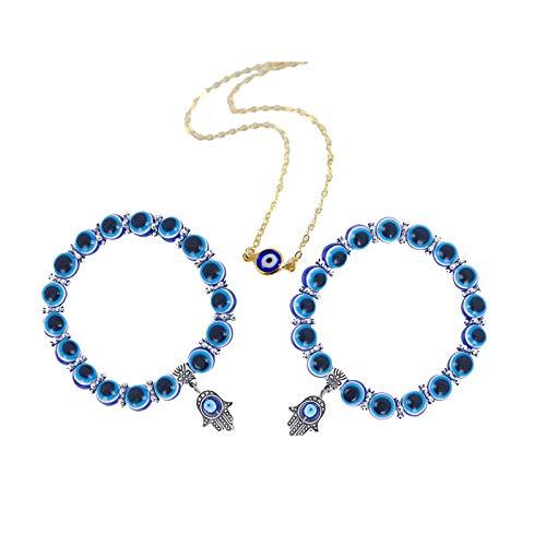 Pulsera de mano de Hamsa de mal de ojo, collar de joyería de mal de ojo, pulsera de mal de ojo griego para mujer (0.8cm beads+Necklace)