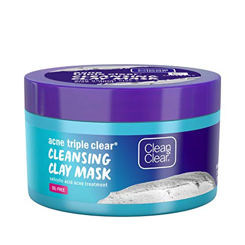Clean & Clear Acne Triple Clear Cleansing Clay Acne Face Mask with Natural Clay, Aloe, Mint, Glycerin Skin Conditioner, and Salicylic Acid Acne Treatment to Fight Breakouts, Oil-Free, 3.5 oz (3 Pack)