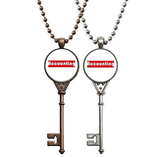 Halskette mit rotem Schlüssel-Anhänger mit einem Wort zur Buchhaltung von Kurs und Major, Schmuck für Paare, Dekoration