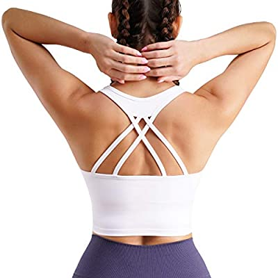 TrainingGirl Women Strappy Racerback Yoga Sports Bra Longline Crop Top Camisole Wirefree Pads Medium Impact Workout Bras (White, Large)