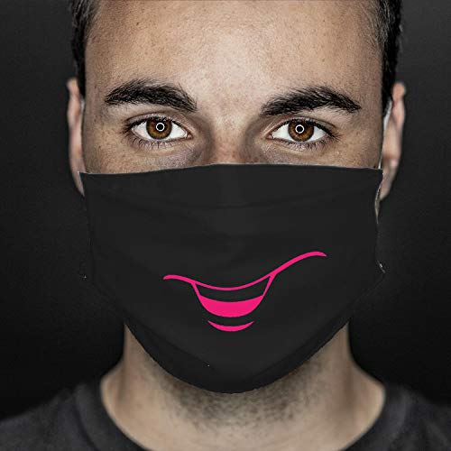 GREVOTEX MASKME Alltagsmaske, Community-Maske, Mund- & Nasenmaske aus 100% Mikrofaser (schwarz, Smile)