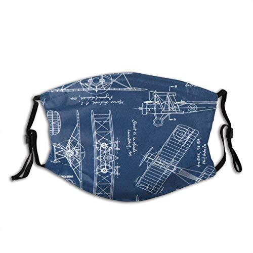 Mundschutz Gesichtsbedeckung Blau Vintage Blaupausen Flugzeug Entwurf Plan Stoff im Freien, schütztund 5-Lagen-Aktivkohlefilter für Erwachsene
