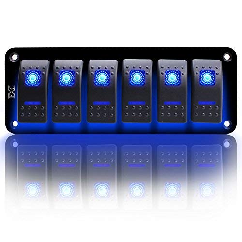 FXC Rocker Switch Aluminum Panel 6 Gang Toggle Switches Dash 5 Pin ON/Off 2 LED Backlit for Boat Car Marine Blue
