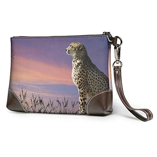 XCNGG Cheetah LookingOver Savanna Bedruckte Clutch Geldbörse Abnehmbare Leder Wristlet Brieftasche Damen Handtasche