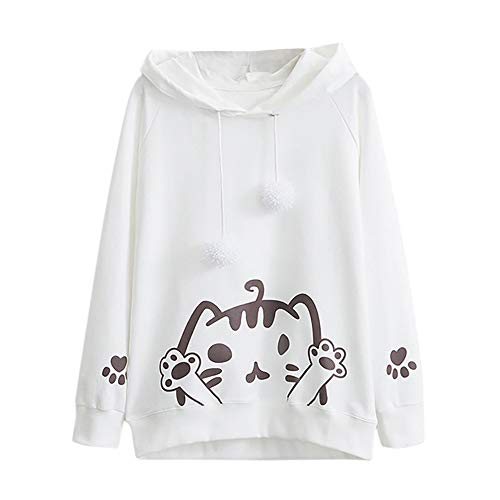 Teenager Mädchen Sweatshirt Casual Womens Long Sleeve Cat Printing Mit Kapuze Rundhals Bluse Tops MYMYG Rundhals Pullover Bluse Tops T-Shirt(Weiß,EU:38/CN-L)