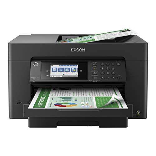 """Epson Workforce Pro WF 7819 Wireless Wide-Format All-in-One Color Inkjet Printer for Home Office - Print, Scan, Copy, Fax - 25 ppm, 4800 x 2400 dpi, 250-Sheet, 4.3"""" LCD, Auto 2-Sided Printing"""