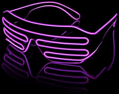 Balinco LED Brille mit 3 Blitzmodi - perfekt geeignet als Techno DJ | Festival | Halloween | Karneval | Fasching als Ergänzung zum Horror Kostüm (Lila)