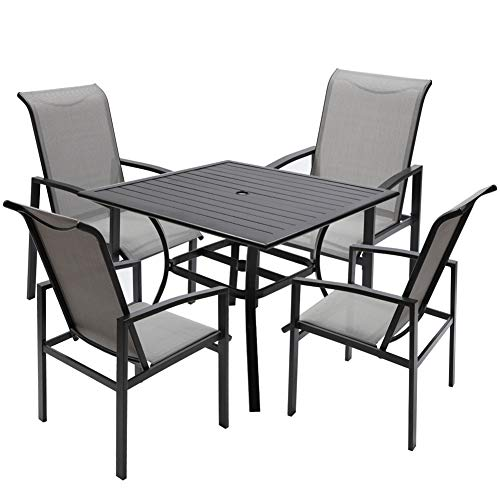 """Fit Choice 5 Piece Outdoor Patio Dining Set for 4, 4 Patio Dining Chairs & 1 Square 38""""x 38"""" Metal Slatted Table W/ 1.5"""" Umbrella Hole, Enjoy Your Patio Dining Sets W (Metal Grey)"""