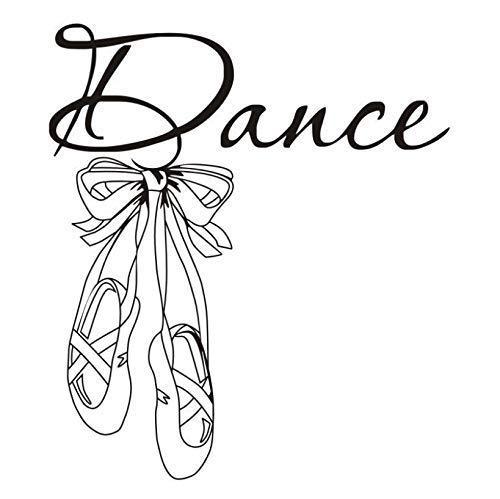 Hermosos Zapatos De Ballet Vinilo Pared Calcomanía Cita Dance Girls Room Decal Art Mural Tatuajes De Pared Para La Sala De Bailarina 56X64 Cm