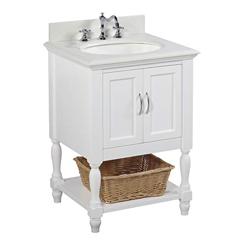 Beverly 24-inch Bathroom Vanity (Quartz/White): Includes White Cabinet with Stunning Quartz Countertop and White Ceramic Sink
