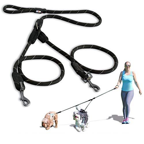 PAWTITAS Doppelleine fur Zwei Hunde | Hundeleine für Zwei Hunde ideal zum Trainieren und Gehen | Leine fur Hund fur Klein Hund und Grosse Hund - Extra Kleine und Kleine Schwarze Hundeleine