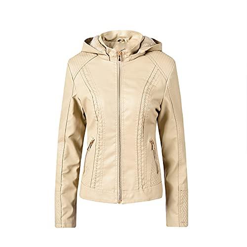 Workout Tops for Women Faux Leather Biker Jacket Trendy Motocross Racer Jacket Fall & Winter Baseball Suit Leather Coat Beige