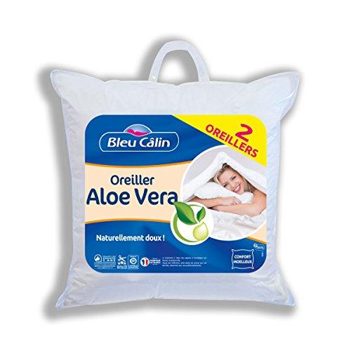 Bleu Câlin Lot de 2 Oreillers Aloe Vera Doux Blancs 60x60 cm OAVH55