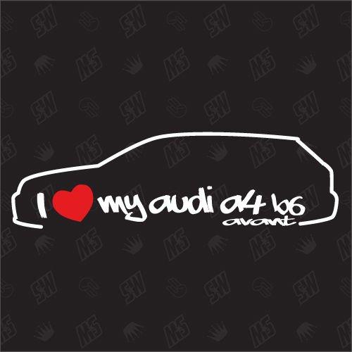 speedwerk-motorwear I Love My A4 B6 Avant - Sticker Bj.00-04, kompatibel mit Audi