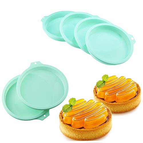 6 Pcs Silicone Cake Molds, 4 Inch Round Green Cake Pan, Baking Pan Set Silicone Baking Mold DIY Rainbow Cakes and Round Resin Coaster Molds, 1 Inch Deep
