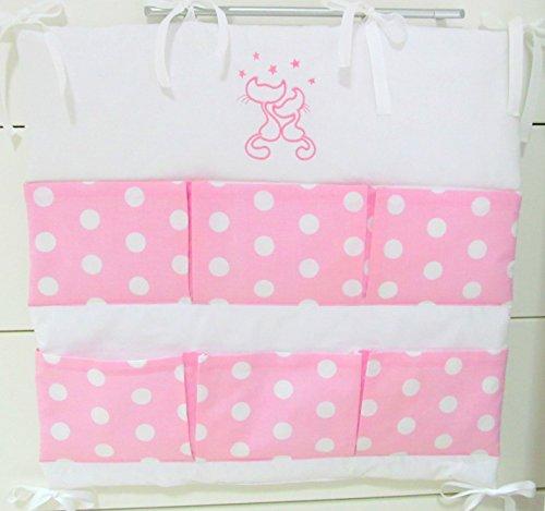 Baby Betttasche für Baby Bett, Utensilio, Wandaufbewahrung, Aufbewahrung fürs Kinderbett 60cm (Cats rosa)